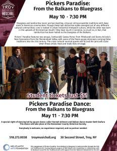 Flyer with information about upcoming Pickers Paradise performances