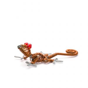 small gecko made of orange beads and wire