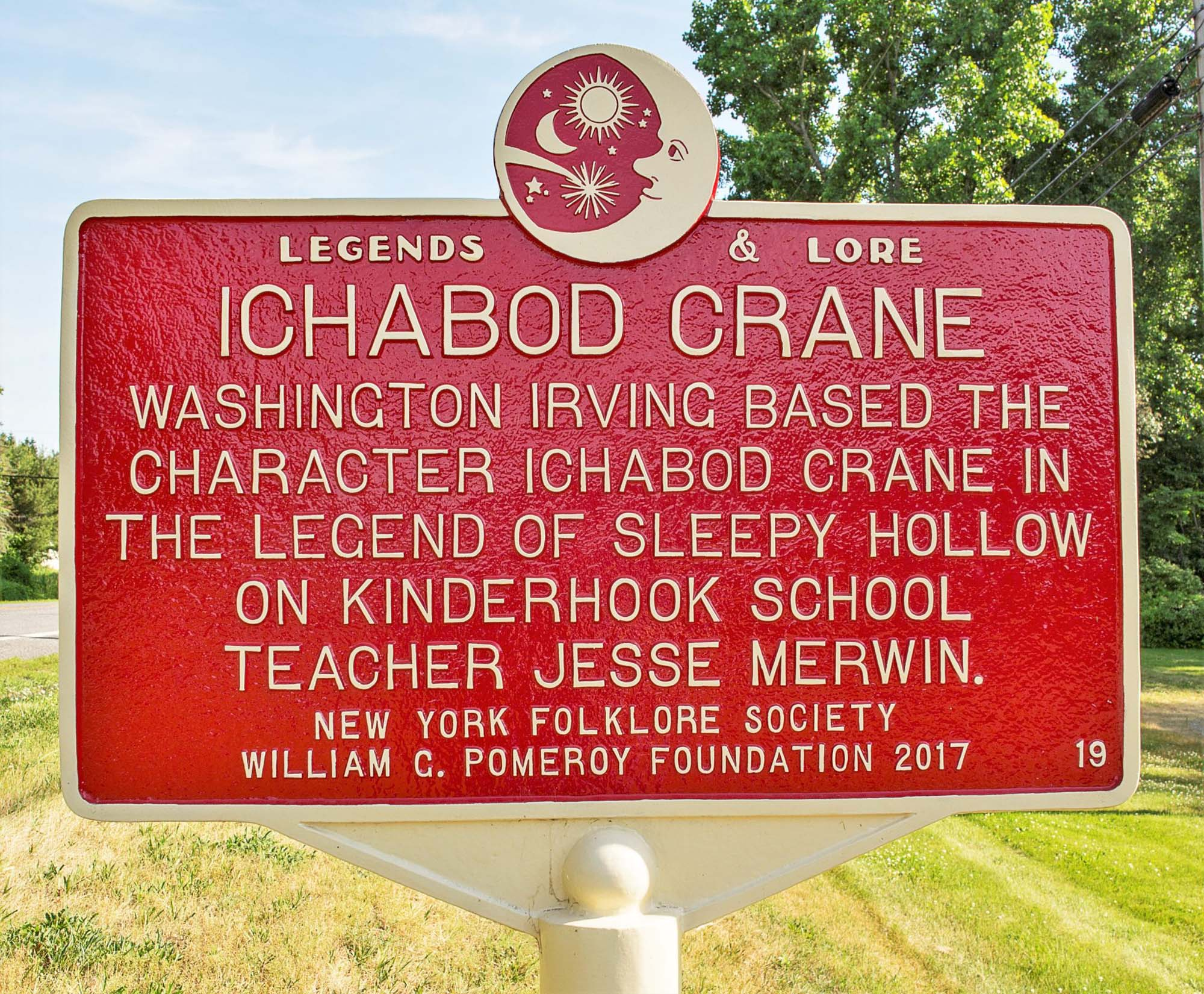 Red metal Legends and Lore marker of Ichabod Crane