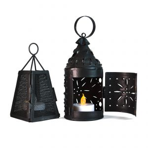 Small, decorative metal lamps